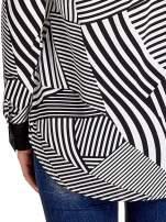 Koszula w zebrę z kontrastowymi mankietami i listwą                                  zdj.                                  6