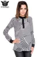 Koszula we wzór zebra print z czarną stójką i mankietami