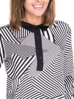 Koszula we wzór zebra print z czarną stójką i mankietami                                  zdj.                                  6