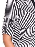 Koszula we wzór zebra print z czarną stójką i mankietami                                  zdj.                                  7