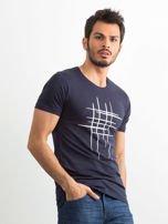 Koszulka męska z bawełny granatowa                                  zdj.                                  3