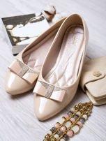 Kremowe lakierowane baleriny shiny Princess z kokardką i srebrnymi cekinami                                   zdj.                                  1