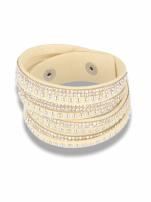 Kremowo-srebrna Bransoletka na zamszowym pasku z cyrkoniami                                  zdj.                                  1