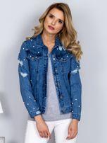 Kurtka jeansowa z perełkami i przedarciami niebieska                                  zdj.                                  1