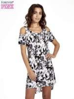 Kwiatowa sukienka cut out shoulder                                  zdj.                                  1