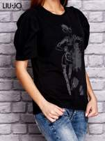 LIU JO Czarny t-shirt z nadrukiem i bufiastymi rękawami                                  zdj.                                  3