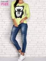Limonkowa bluza z nadrukiem pandy                                  zdj.                                  2