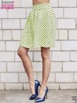 Limonkowa spódnica w grochy z plisami                                  zdj.                                  2