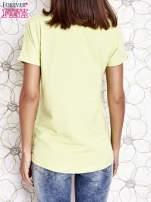 Limonkowy t-shirt z motywem serca i kokardki                                  zdj.                                  5