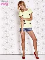 Limonkowy t-shirt z nadrukiem owadów                                                                          zdj.                                                                         2