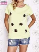 Limonkowy t-shirt z nadrukiem owadów                                                                          zdj.                                                                         1