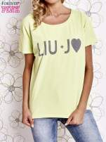 Limonkowy t-shirt z napisem LIU J❤