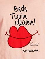 Łososiowy t-shirt damski BĘDĘ TWOIM IDEAŁEM by Markus P                                  zdj.                                  2