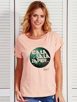 Łososiowy t-shirt damski CAŁA SALA by Markus P                                  zdj.                                  1