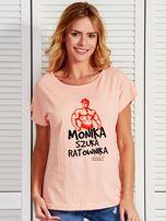 Łososiowy t-shirt damski MONIKA SZUKA RATOWNIKA by Markus P                                  zdj.                                  1