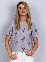 Luźny t-shirt we flamingi jasnoszary                                  zdj.                                  1