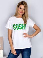 Luźny t-shirt z cekinowym napisem SUSHI biały                                  zdj.                                  1