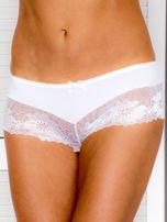 Majtki szorty damskie z koronką 2-pak biało-miętowe                                  zdj.                                  2
