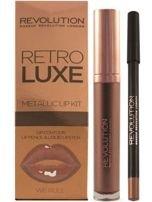 Makeup Revolution Retro Luxe Metallic Lip Kit Zestaw do ust konturówka 1g + pomadka w płynie 5,5ml We Rule                                  zdj.                                  1