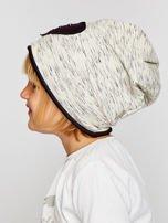 Melanżowa czapka dziewczęca z naszywką serca szaro-czarna                                  zdj.                                  3