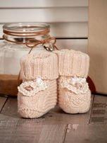 Miękkie buciki dziewczęce wyszywane perełkami beżowe                                  zdj.                                  4