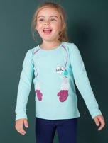 Miętowa bawełniana bluzka dla dziewczynki                                   zdj.                                  2