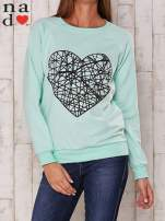 Miętowa bluza z nadrukiem serca