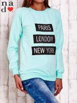 Miętowa bluza z napisem PARIS LONDON NEW YORK                                  zdj.                                  3