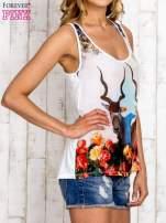 Miętowa bluzka koszulowa z nadrukiem antylopy                                  zdj.                                  3