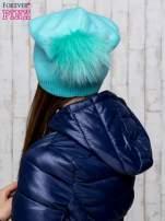Miętowa wełniana czapka z futrzanym pomponem                                                                           zdj.                                                                         3