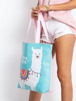 Miętowo-różowa torba z nadrukiem                                  zdj.                                  2