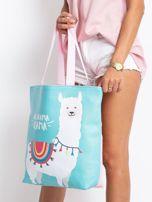 Miętowo-różowa torba z nadrukiem                                  zdj.                                  6