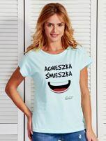 Miętowy t-shirt damski AGNIESZKA ŚMIESZKA by Markus P                                  zdj.                                  1