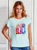 Miętowy t-shirt damski KOLOROWY RAJ by Markus P                                  zdj.                                  1