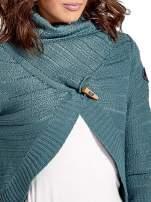 Morski krótki sweter narzutka z kołnierzem                                                                          zdj.                                                                         5