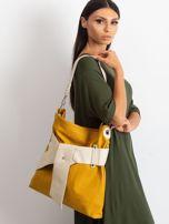 Musztardowo-beżowa torba ze skóry ekologicznej                                  zdj.                                  1