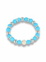 Niebieska Bransoletka koralikowa z kulką schamballa                                  zdj.                                  1