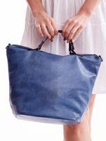 Niebieska ażurowa torba z plecioną kieszonką                                  zdj.                                  4