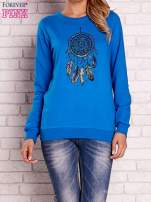 Niebieska bluza z nadrukiem łapacza snów