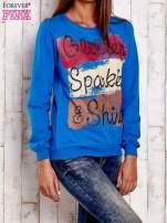 Niebieska bluza z napisem GLITTER SPARKLE SHINE                                  zdj.                                  3
