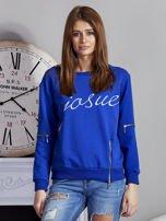 Niebieska bluza z napisem i suwakami                                  zdj.                                  1