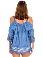 Niebieska bluzka cold shoulder z koronką                                  zdj.                                  2