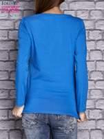 Niebieska bluzka z koronkową wstawką                                  zdj.                                  2