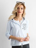 Niebieska cienka bluza w paski                                  zdj.                                  1