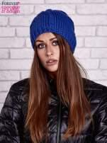 Niebieska czapka o warkoczowym splocie                                  zdj.                                  1