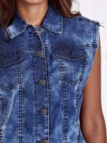 Niebieska denimowa koszula z surowym wykończeniem                                  zdj.                                  6