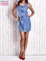 Niebieska denimowa sukienka z suwakiem                                                                          zdj.                                                                         7