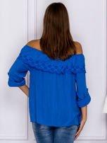 Niebieska hiszpanka z ażurową falbaną przy dekolcie                                  zdj.                                  2