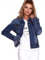 Niebieska jeansowa kurtka z kołnierzykiem PLUS SIZE                                  zdj.                                  7