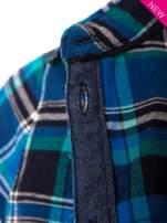 Niebieska koszula w kratę z kieszonką z przodu                                  zdj.                                  5